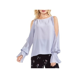 Vince Camuto Womens Pullover Top Crepe Cold Shoulder