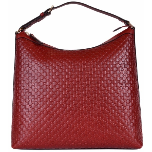 be0852fa700 NEW Gucci 449732 Red Micro GG Guccissima Leather Purse Hobo Handbag - 13.5