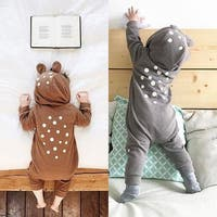 Baby Kids Fashion Cute Cartoon Bear Style Dot Print Hoodie Romper Warm Jumpsuit