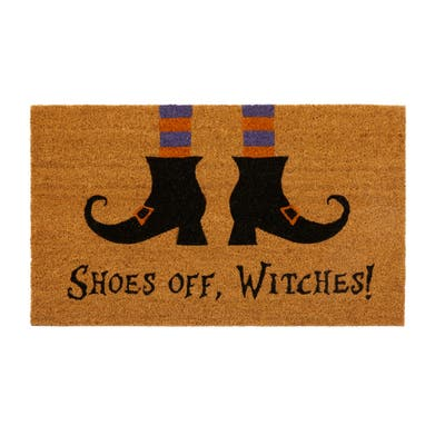 Shoes Off Witches Novelty Halloween Coir Door Mat