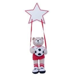 Plush Soccer Bear Hanging Name Plaque