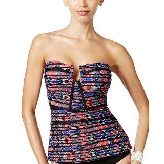 Island Escape Womens Antigua Tribal Print Tankini Top 12 Black Multi Swimsuit