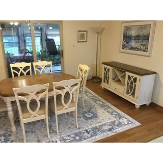 TRIBECCA HOME Shayne Country Antique Two Tone White Extending Dining Set Fr