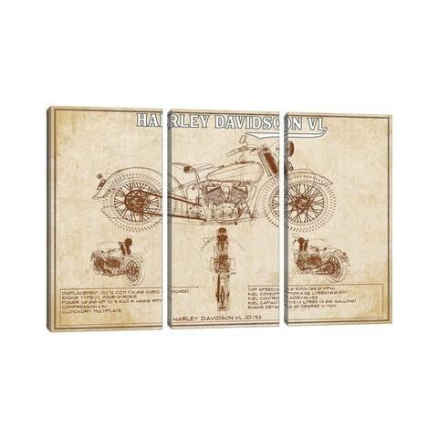 """iCanvas """"1930 Harley Davidson VL (Brown)"""" by Cutler West 3-Piece Canvas Wall Art Set"""