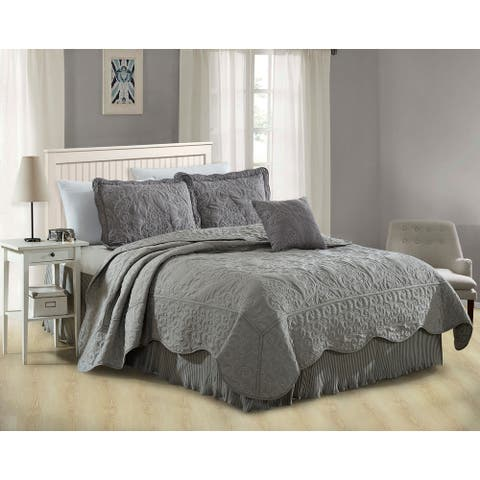 """Serenta Damask 5 Piece Embroidery Coverlet Set with 18"""" Drop Pleated Bedskirt"""