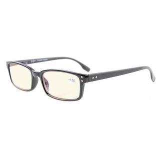 Eyekepper Classical Rectangular Frame Spring-Hinges Eyeglasses(Black, Yellow Tinted Lenses)+2.00