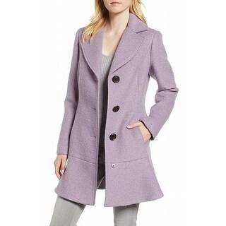Link to Kensie Womens Coats Deep Purple Size XL Flounce-Hem Notched-Lapel Similar Items in Women's Outerwear