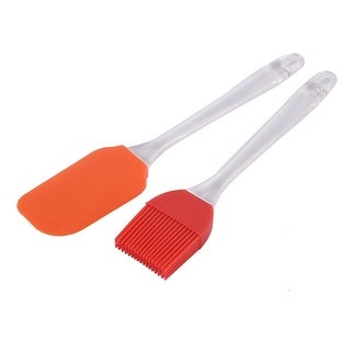 Silicone Head Plastic Handle Kitchen Butter Mixing Tool Set Red Orange 2 in 1
