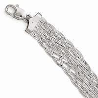 Italian Sterling Silver Polished Braided Bracelet - 7.5 inches