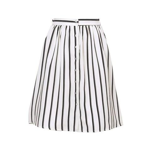 Allegra K Woman Stripes Button Front Elastic Back A Line Midi Skirt