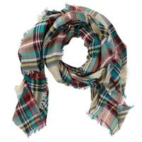 CTM® Women's Lightweight Plaid Print Scarf with Fringe - One size