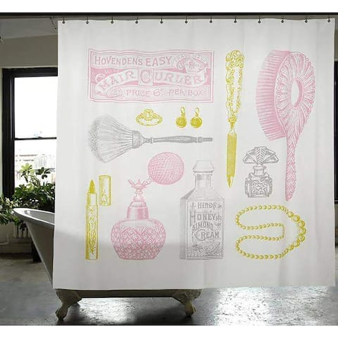 Izola Fabric Powder Room Shower Curtain, Multi, 72x72 Inches