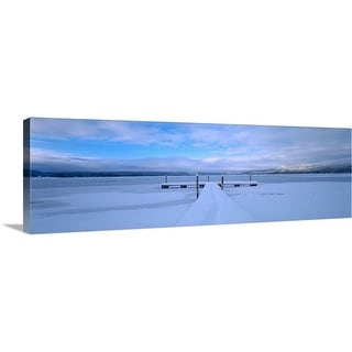 """Snow covered pier, McCall, Valley County, Idaho"" Canvas Wall Art"