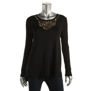 Vince Camuto Womens Jersey Top Embellished Jersey Knit
