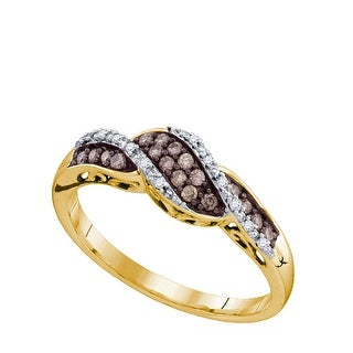 10kt Yellow Gold Womens Round Cognac-brown Colored Diamond Band Fashion Ring 1/5 Cttw - Brown/White