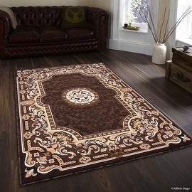 """Allstar Chocolate Woven High Quality High Density Double Shot Drop-Stitch Carving (5' 2"""" x 7' 2"""")"""