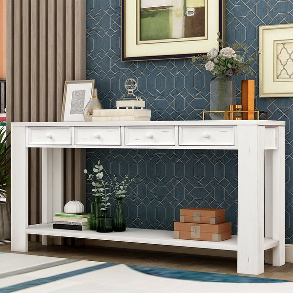 Merax Hallway Console Table with Storage Drawers and Bottom Shelf. Opens flyout.