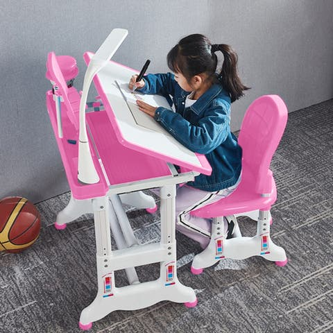 Height Adjustable Study Desk And Chair Set Pull Out Drawer