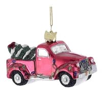 Kurt Adler Noble Gems Red Pickup Truck with  Tree  Holiday Ornament
