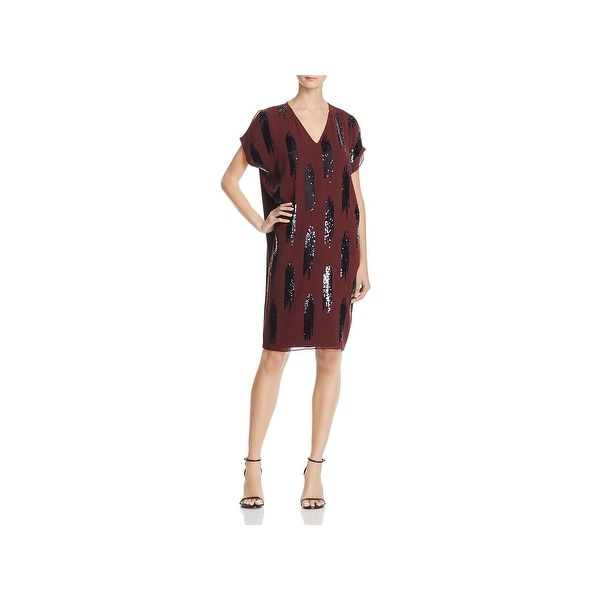 Nic + Zoe Womens Party Dress Sequined V-Neck