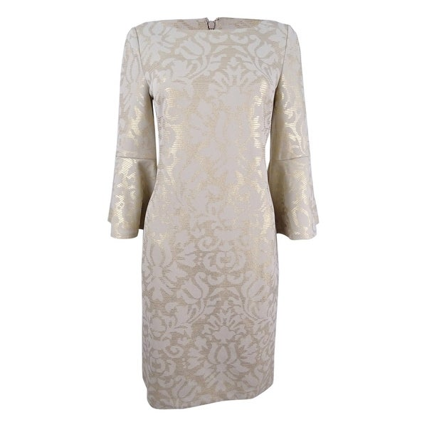 f0281fb5e5a70 Shop Jessica Howard Women's Bell-Sleeve Metallic-Print Dress (8, Tan/Gold)  - Tan/Gold - 8 - On Sale - Free Shipping Today - Overstock - 23102682