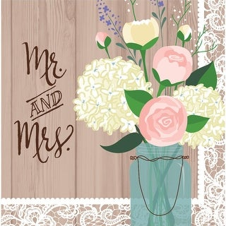 """Club Pack of 192 Rustic Wedding """"Mr. and Mrs"""" 2-Ply Paper Party Lunch Napkins 6.5"""""""