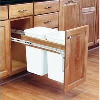 Rev-A-Shelf 4WCTM-15DM2 4WCTM Top Mount Double Bin Pull Out Can with Full Extension Slides - 27 Quart Capacity - White - N/A