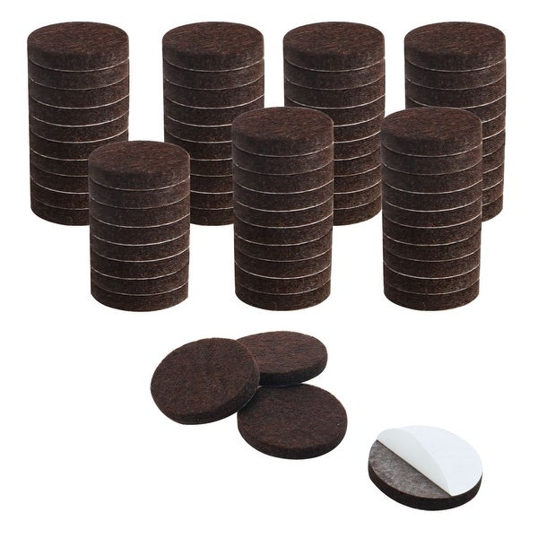 """72pcs Furniture Felt Pads Round 1 1/4"""" Self-stick Non-slip Anti-scratch Pads for Cabinet Chair Feet Leg Protector Brown"""