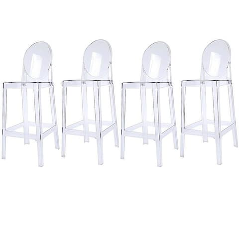 """Set of 4 30"""" Seat Height Barstool Modern Plastic Side Bar Counter Stool Accent Armless Designer With Backs"""