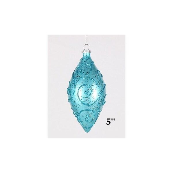 Christmas at Winterland WL-TEAR-05-AQ 5 Teardrop Ornaments Copper with Aqua Glitter - copper/aqua - N/A
