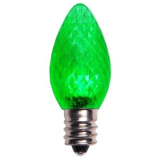 Wintergreen Lighting 43306 C7 Dimmable Green LED Christmas Light Bulbs - Pack of 25