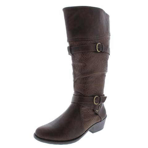 Easy Street Womens Kelsa Plus Riding Boots Wide Calf Faux Leather