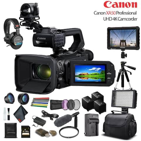 Canon XA50 UHD 4K Camcorder W/ 2 Extra Battery - Advanced W/ Mic Bundle