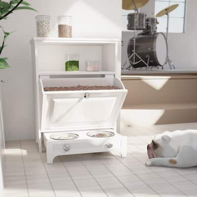 roomfitters White Pet Feeding Station with Food Storage Cabinet