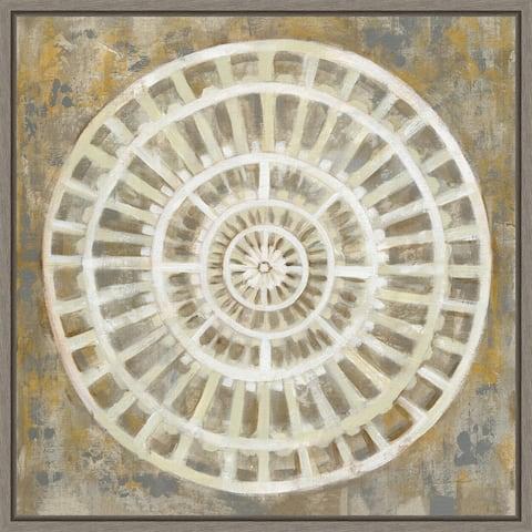 Neutral Textured Medallion by Silvia Vassileva Framed Canvas Art