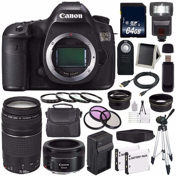 Canon EOS 5DS DSLR Camera (International Model) (0581C002) + Canon EF 75-300 III+ EF 50mm f/1.8 STM Lens Bundle