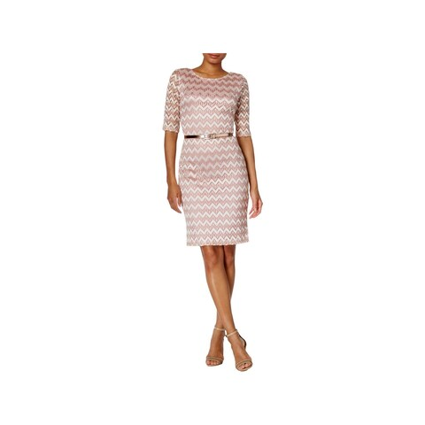 Connected Apparel Womens Petites Cocktail Dress Metallic Lace