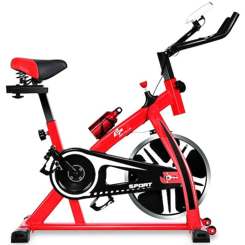 Costway Adjustable Exercise Bike Bicycle Cycling Cardio Fitness LCD w/ - 44''L x 18''W x 44''H