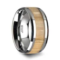 THORSTEN - SAMARA Tungsten Ring with Polished Bevels and Ash Wood Inlay - 10 mm