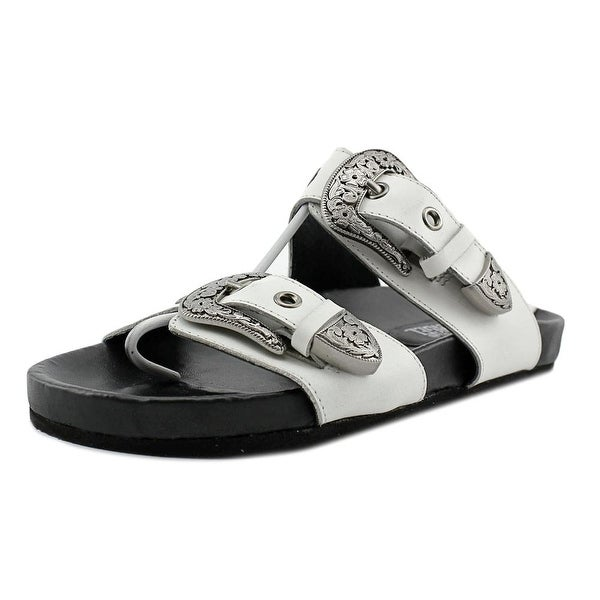 Eight Second Angel Sheniah Western Sandal Women Leather White Slides Sandal