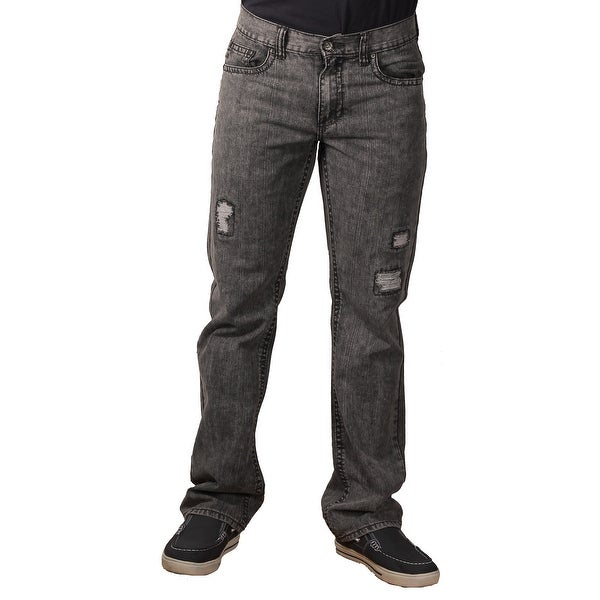Request Men's Acidwash Rip-Torn Fashion Jeans Jeans