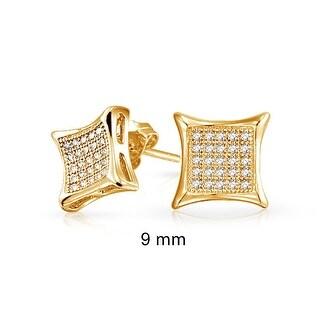 Bling Jewelry Kite Shaped White Unisex CZ Stud earrings Gold Vermiel 9mm