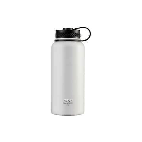 Monoprice Vacuum Sealed 32 fl. oz. Wide-Mouth Water Bottle White - Pure Outdoor
