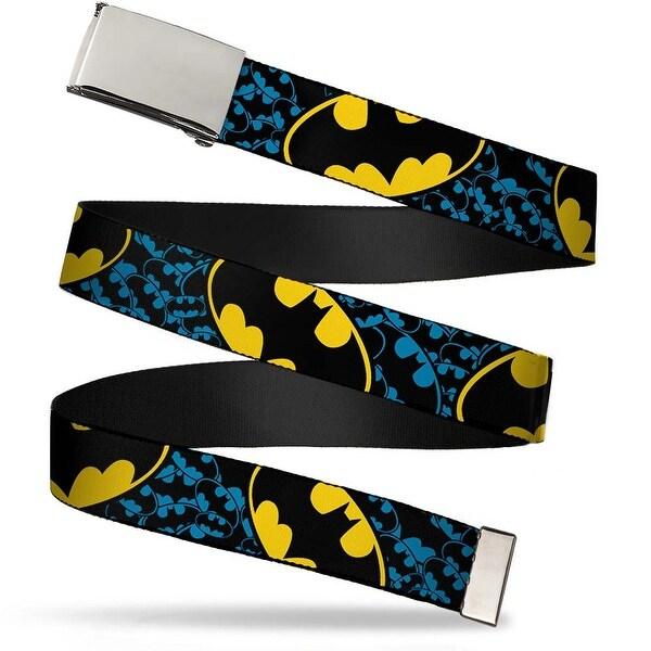 Blank Chrome Buckle Bat Signals Stacked W Close Up Blue Black Yellow Web Belt