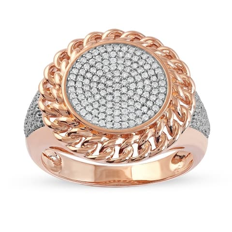 1/3ct TDW Diamond Cuban Link Mens Ring in 10k Gold by De Couer