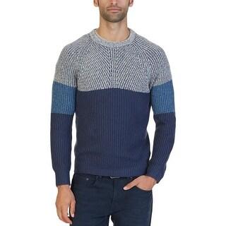 Nautica Mens Crewneck Sweater Multi-Textured Ribbed Trim