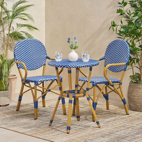 Paul Outdoor Aluminum and Wicker Outdoor French Bistro Set by Christopher Knight Home