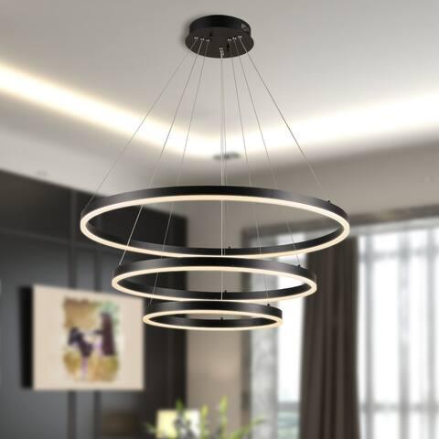 ExBrite 31 in. 75-Watt Integrated LED Black Dimmable Adjustable 3-Rings Pendant