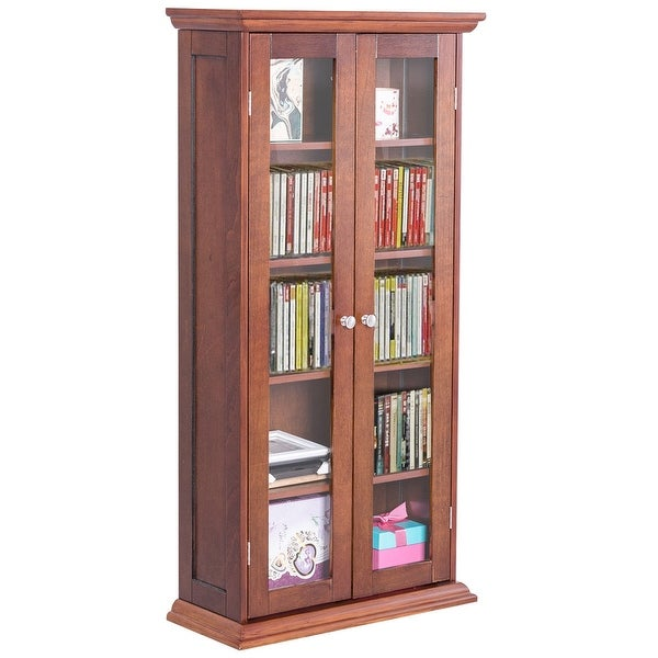 Costway 44.5u0026#x27;u0026#x27; Wood Media Storage Cabinet CD DVD Shelves  sc 1 st  Overstock.com & Shop Costway 44.5u0027u0027 Wood Media Storage Cabinet CD DVD Shelves Tower ...
