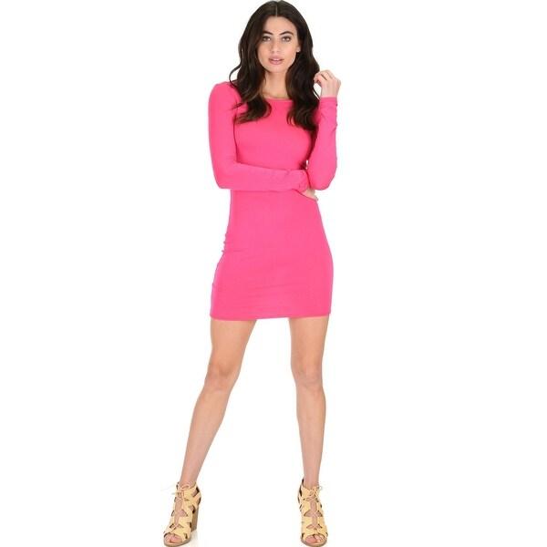 Shop Comeback Baby Long Sleeve Black Bodycon Dress Fuschia Medium